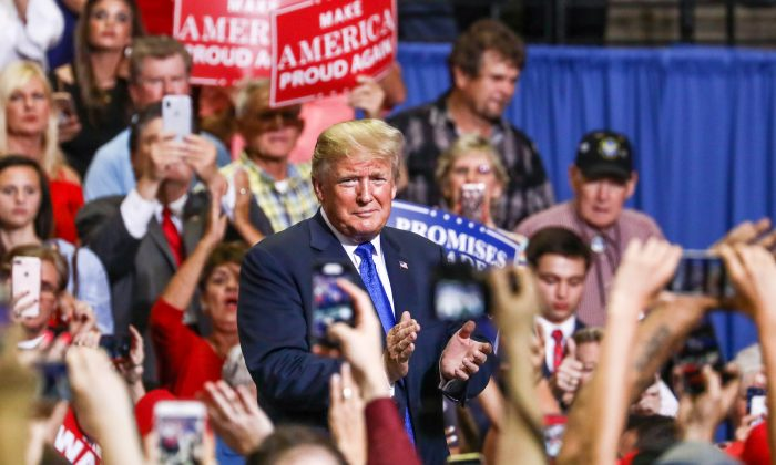 President Donald Trump at a Make America Great Again rally in Southaven, Miss., on Oct. 2, 2018. (Charlotte Cuthbertson/The Epoch Times)