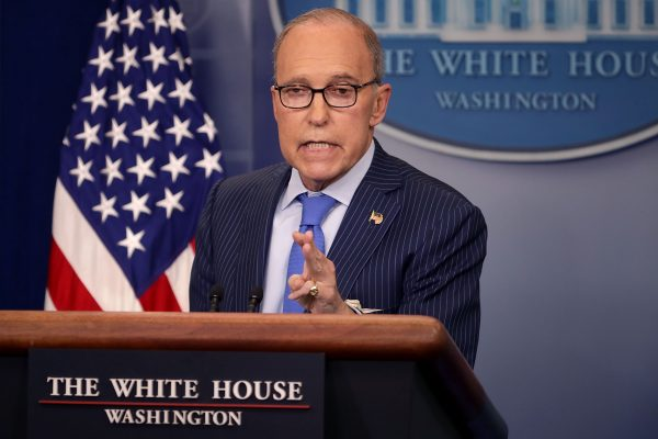 White House National Economic Council Director Larry Kudlow holds a news briefing