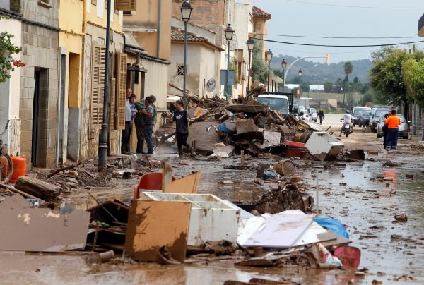 debris on the streets of Sant Llorenc