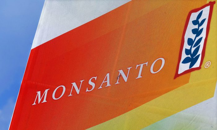 The Monsanto logo on display at the Farm Progress Show in Decatur, Ill., on Aug. 31, 2015. (Seth Perlman, AP File Photo)