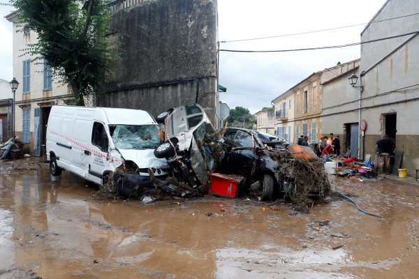 destroyed cars on streets of Mallorca