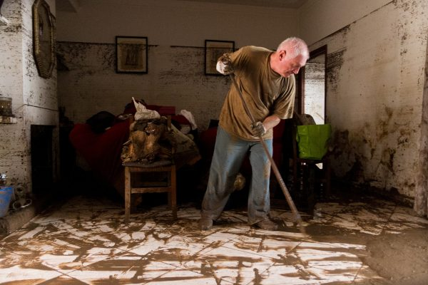 a man cleans his house