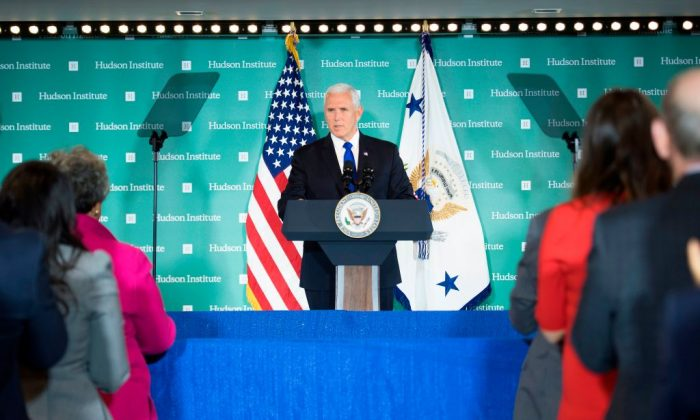 US Vice President Mike Pence addresses the Hudson Institute on the administration's policy towards China in Washington, DC, on October 4, 2018. - Pence on Thursday accused China of seeking a change of power in the White House, stepping up allegations of electoral interference. (JIM WATSON/AFP/Getty Images)
