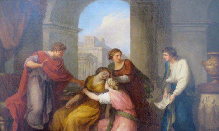 """""""Virgil reading his 'Aeneid' to Octavia and Augustus,"""" 1788, by Angelica Kauffmann. A legend in ancient Roman history tells of Octavia, the sister of the Emperor Augustus, who faints when hearing Virgil's verses, which remind her of the early death of her son. (Public Domain)"""