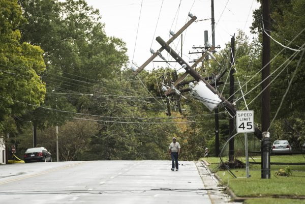 pedestrian walk under downed power lines