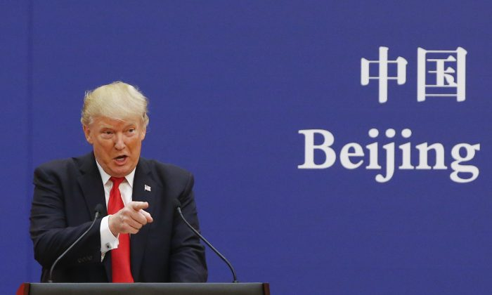 U.S. President Donald Trump speaks to Chinese business leaders in Beijing on Nov. 9, 2017.  (Thomas Peter/Getty Images)