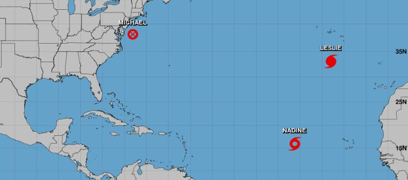 hurricane leslie nadine michael sergio