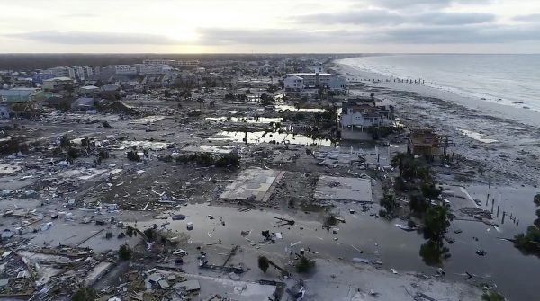 rows houses smashed pieces hurricane