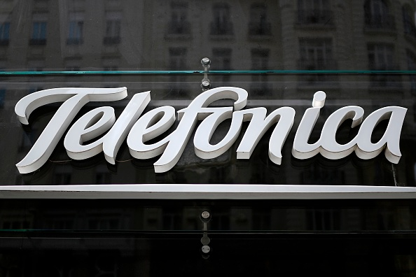 A picture shows the logo of Spanish multinational broadband and telecommunications company Telefonica in Madrid on Aug. 23, 2018. (GABRIEL BOUYS/AFP/Getty Images)