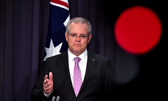 Prime Minister Scott Morrison speaks to the media during a press conference at Parliament House in CANBERRA, Australia, Oct. 16, 2018. (AAP/Mick Tsikas/via Reuters)