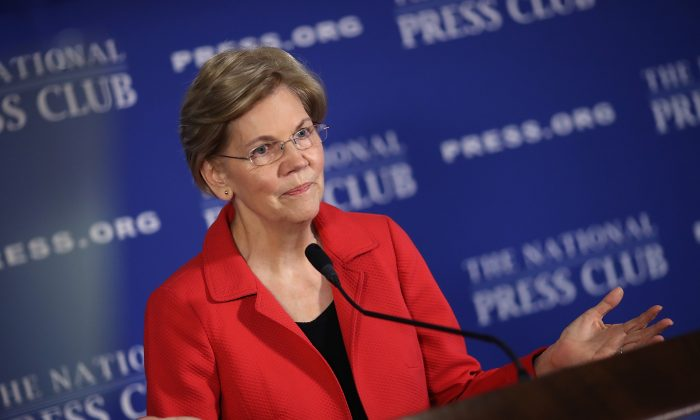 Sen. Elizabeth Warren (D-Mass.) at the National Press Club in Washington, on Aug. 21, 2018. (Win McNamee/Getty Images)