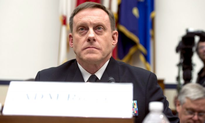 Admiral Mike Rogers, Director of the National Security Agency (NSA), before Congress on May 23, 2017. (SAUL LOEB/AFP/Getty Images)