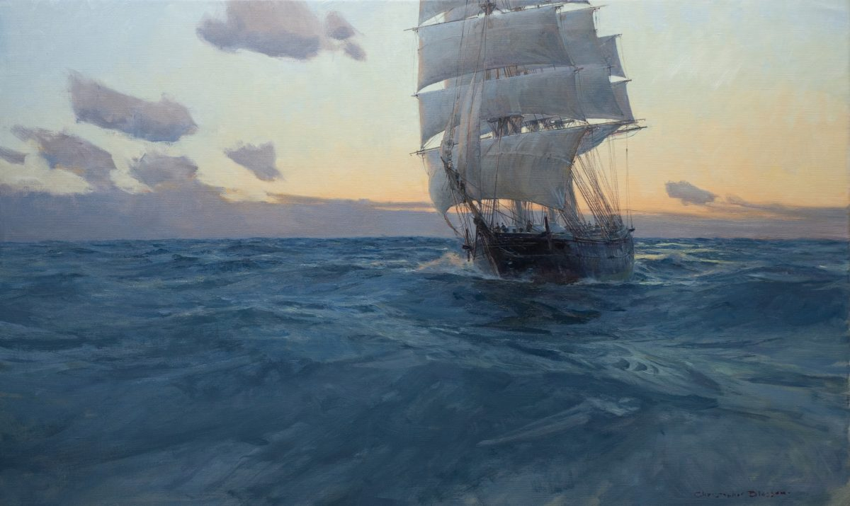 """Medium Clipper 'Black Hawk' at Dawn,"" 2018, by Christopher Blossom. Oil on linen, 22 inches by 36 inches. (Courtesy of Tim Newton)"