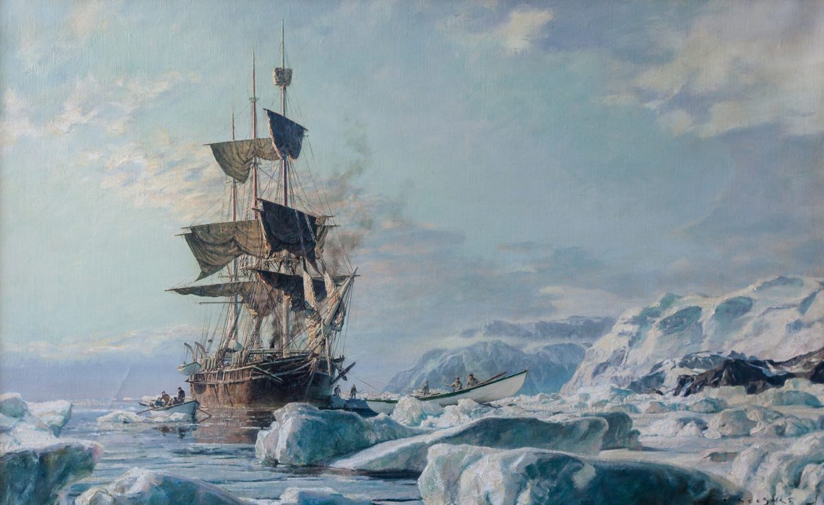 """Whaling Bark Charles W. Morgan,"" 1971, by John Stobart. oil, 24 inches by 38 inches. (Courtesy of Tim Newton)"