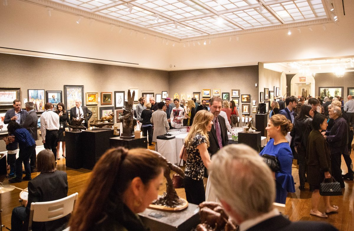 People mingle during the American Masters Gala & Sale at the Salmagundi Club on October 12, 2018. (Milene Fernandez/The Epoch Times)