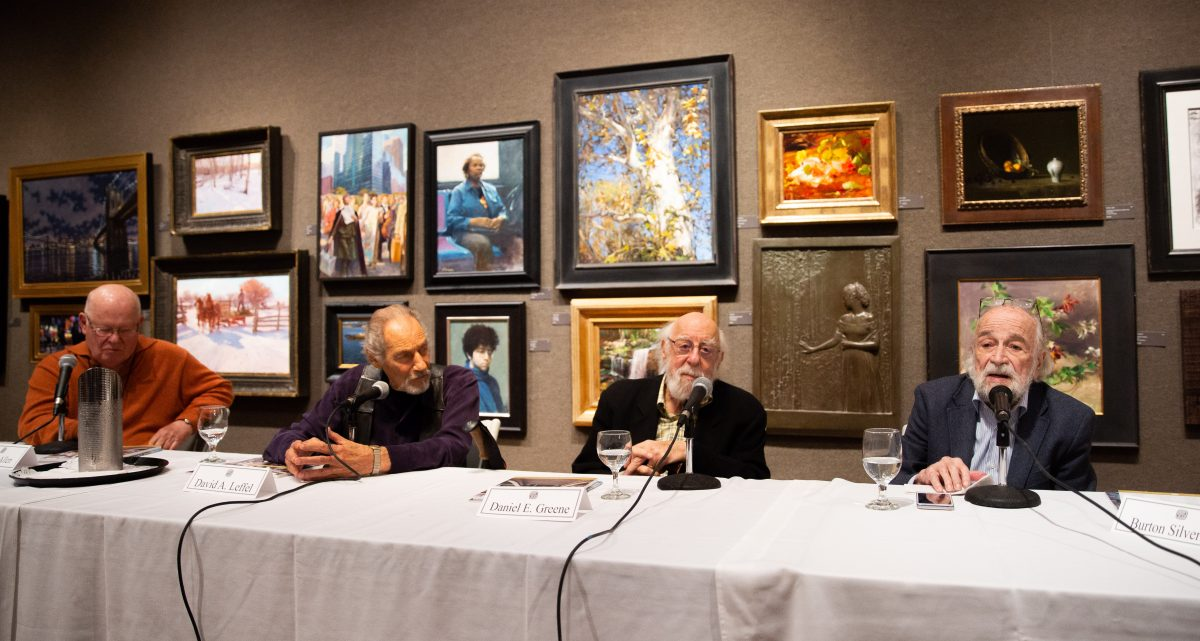 (L–R) Douglas Allen, David Leffel, Daniel Green, and Burton Silverman, four of the eight Living Legend artists, commemorated for their lifetime achievement, talk about their life's work at the Salmagundi Club on October 13, 2018. (Milene Fernandez/The Epoch Times)