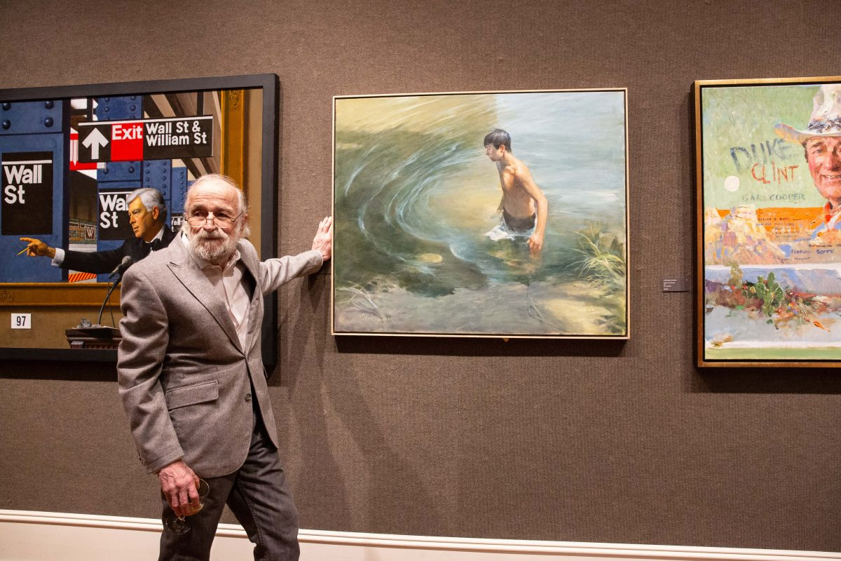 "Artist Burton Silverman poses for a photo with his painting, ""Waterhole,"" 2018, oil on linen, 36 inches by 42 inches, at the Salmagundi Club on October 13, 2018. (Milene Fernandez/The Epoch Times)"