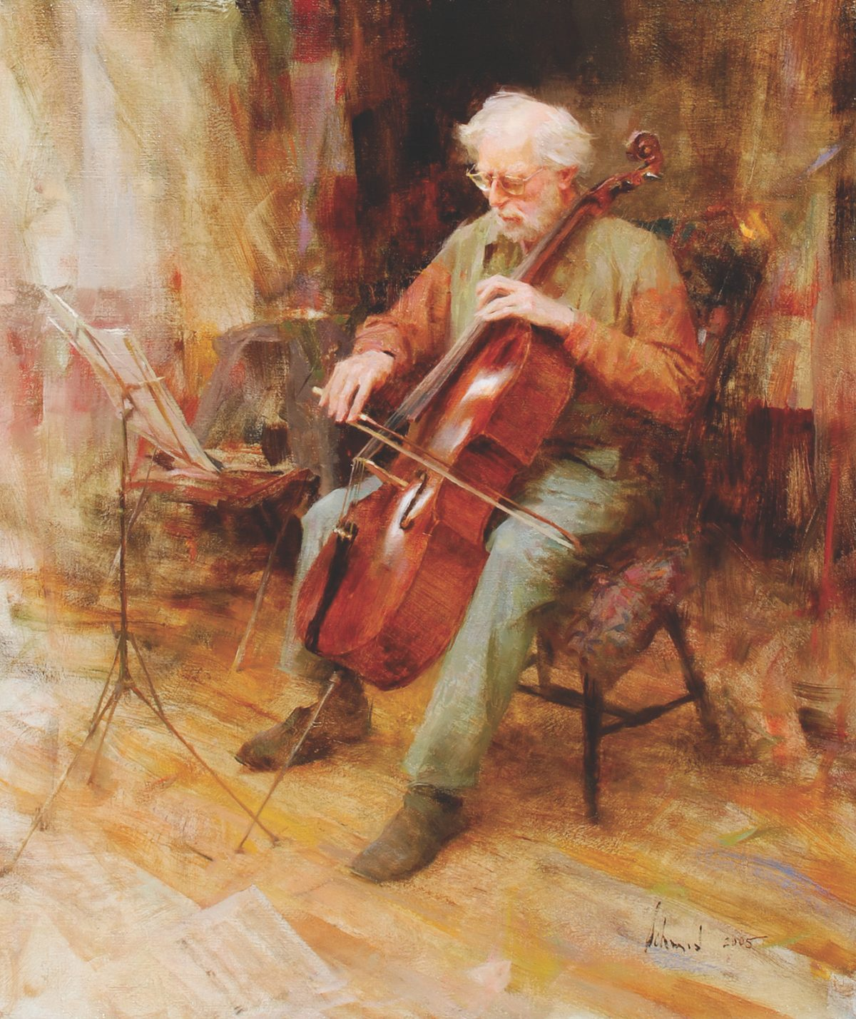 """David Wells, Cellist,"" 2005, by Richard Schmid. Oil on canvas, 26 inches by 22 inches. (Courtesy of Tim Newton)"