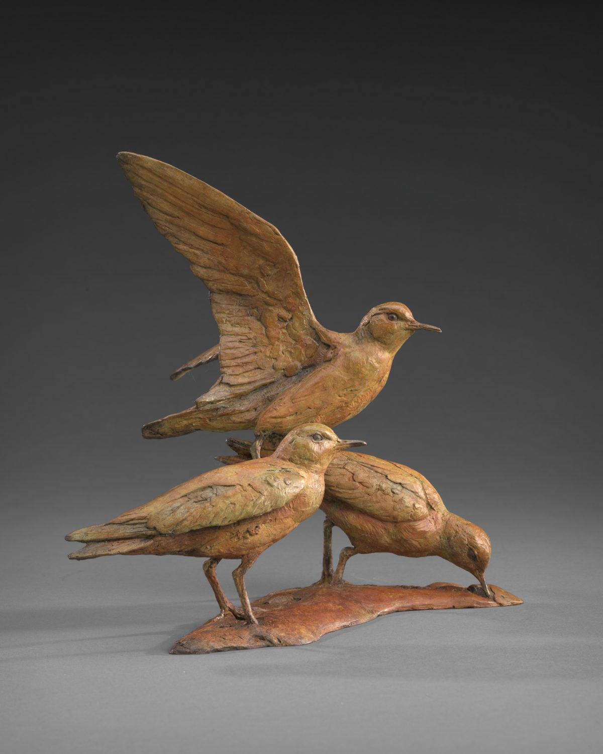 """Life is a Beach and then You Fly (Sandpipers)"" by Walter Matia, Bronze Edition 12/24, 9.5 by 10 by 9 inches. (Courtesy of Tim Newton)"