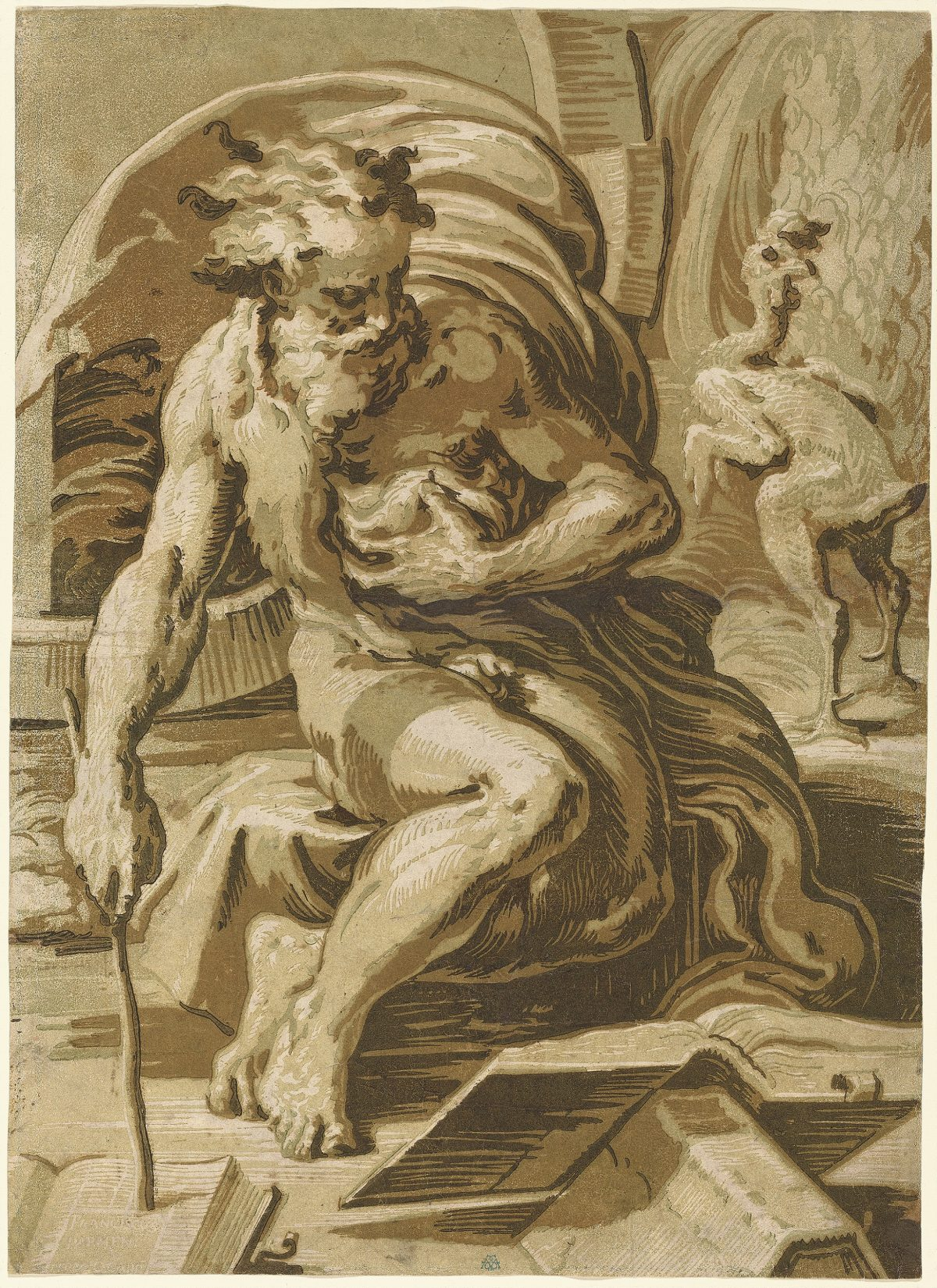 """""""Diogenes"""" famous chiaroscuro woodcut old man sitting reading, print in brown, green."""