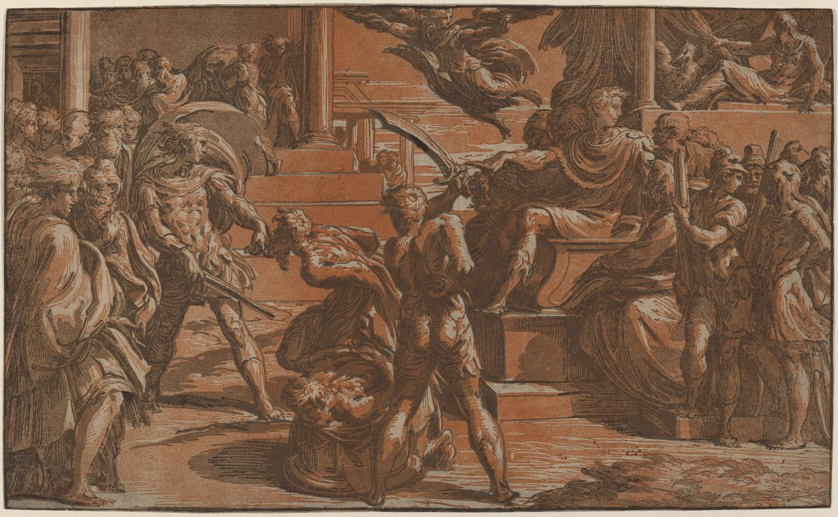 Classical scene: red ochre and blue-gray color renaissance chiaroscuro print of two Saints being martyred by Roman soldiers.