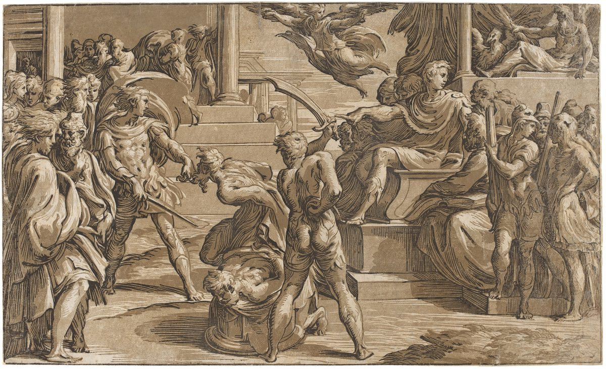 Classical scene: gray-brown, black renaissance chiaroscuro print of two Saints being martyred by Roman soldiers.