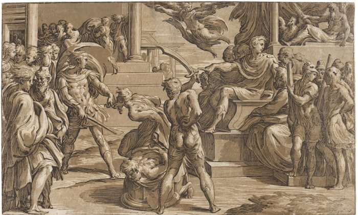 """""""Martyrdom of Two Saints,"""" circa 1527–1530, by Antonio da Trento, after Parmigianino. Chiaroscuro woodcut from three blocks in light gray-brown, medium gray-brown, and black, state i/ii, 11 1/2 inches by 19 inches. Gift of Ruth Cole Kainen. (National Gallery of Art)"""