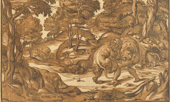 """""""Hercules and the Nemean Lion,"""" circa 1560s, by Nicolò Boldrini, after Niccolò Vicentino (after Raphael school.) Chiaroscuro woodcut printed from two blocks in brown and black, 11 5/8 inches by 16 1/4 inches. Pepita Milmore Memorial Fund. (National Gallery of Art)"""