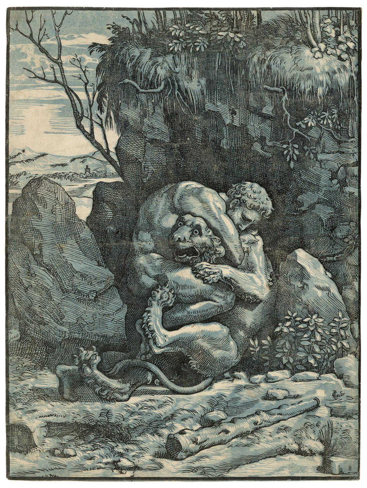 Warrior Hercules wrestles a lion, black and blue chiaroscuro print. Raphael. Ugo da Carpi.