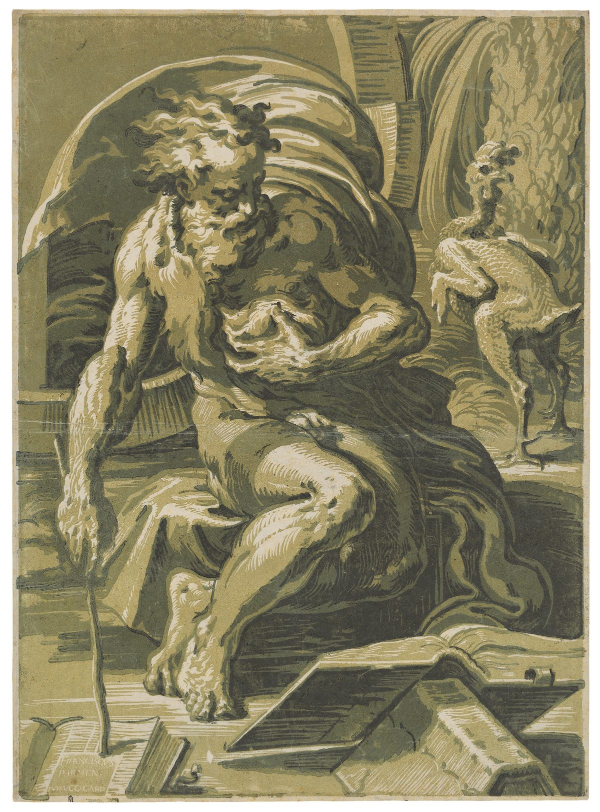 """""""Diogenes"""" famous chiaroscuro woodcut old man sitting reading, print in blue, green."""