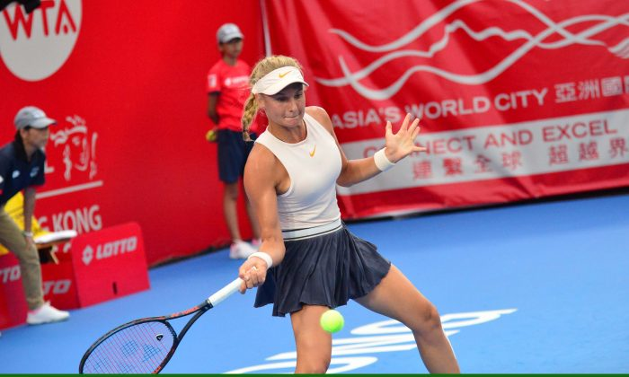 Ukrainian teenager Dayana Yastremska seen here playing a forehand return, took the final of the Hong Kong Open by storm on Sunday Oct 14, outplaying China number one Wang Qiang seeded 6 and ranked 23 in the world, winning in straight sets  with a 6/2, 6/1 scoreline for her first WTA title. (Eddie So)