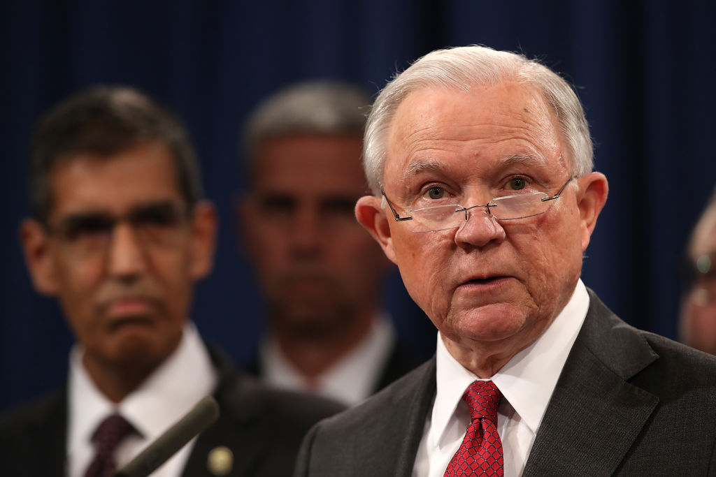 Jeff Sessions speaks during a news conference