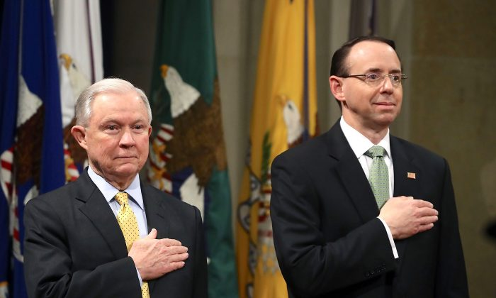 Attorney General Jeff Sessions (L) and Deputy U.S. Attorney General Rod Rosenstein at the Justice Department on Feb. 2, 2018. (Mark Wilson/Getty Images)