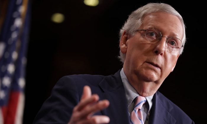 Senate Majority Leader Mitch McConnell (R-KY) talks to reporters after the Senate voted to confirm Supreme Court nominee Judge Brett Kavanaugh at the U.S. Capitol in Washington, DC, Oct. 06, 2018. (Chip Somodevilla/Getty Images)