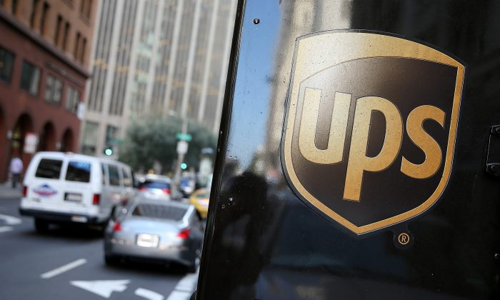A United Parcel Service logo is displayed on a delivery truck in San Francisco, Calif., on Oct. 24, 2014. (Justin Sullivan/Getty Images)