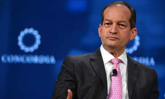 Secretary of the U.S. Department of Labor Alexander Acosta speaks onstage during the 2018 Concordia Annual Summit in New York City on Sept. 25, 2018 (Riccardo Savi/Getty Images for Concordia Summit)