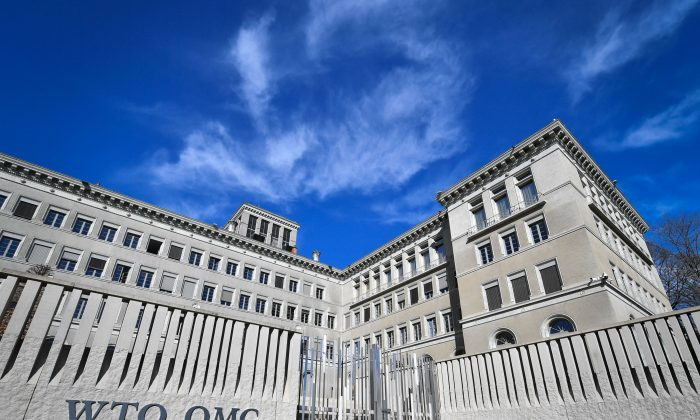 The World Trade Organization (WTO) headquarters are seen in Geneva on April 12, 2018.  (Photo by Fabrice Coffrini/ AFP/Getty Images)