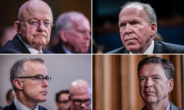 (L–R) Former Director of National Intelligence James Clapper, former CIA Director John Brennan, former Deputy FBI Director Andrew McCabe, and former FBI Director James Comey. (Getty Images)