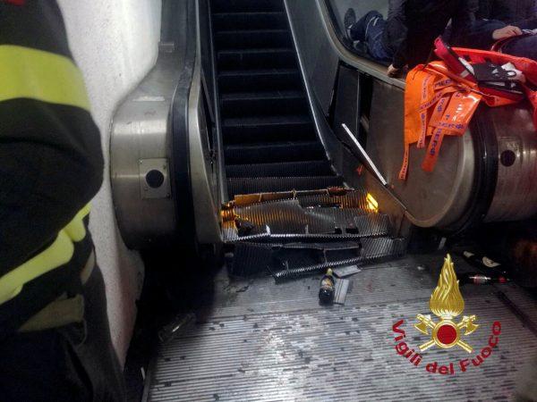 20 hurt as Rome metro escalator speeds up, then collapses