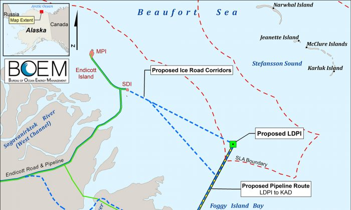 A map showing the planned Liberty Project, conditionally approved by the Interior Department on Oct. 24, 2018. (Bureau of Ocean Energy Management)