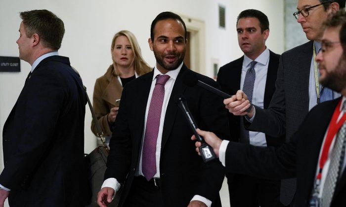 Former Trump campaign adviser George Papadopoulos (C) arrives at a closed door hearing before the House Judiciary and Oversight Committee Oct. 25, 2018 in Washington, DC.  (Alex Wong/Getty Images)