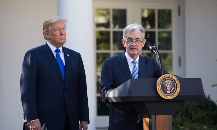 President Donald Trump announces Jerome Powell as the new chairman of the U.S. Federal Reserve in the Rose Garden of the White House in Washington on Nov. 2, 2017. (Samira Bouaou/ The Epoch Times)