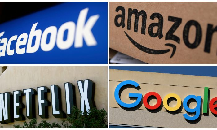 Facebook, Amazon, Netflix and Google logos are seen in this combination photo from Reuters files.   (Reuters/File Photo)