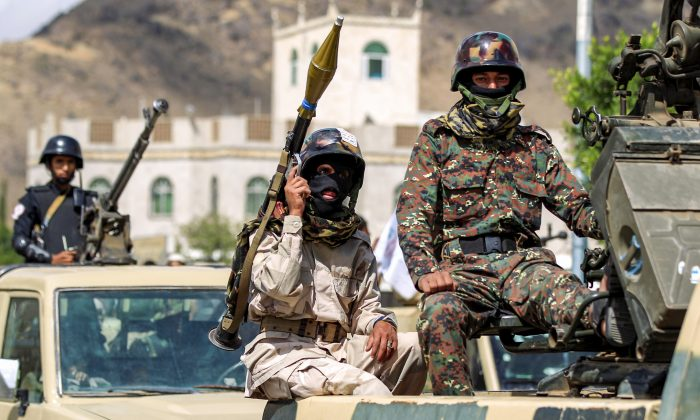 Yemeni soldiers loyal to the Shiite Huthi rebels during a parade in the capital Sanaa on Oct. 16, 2018. (Mohammed Huwais/AFP/Getty Images)
