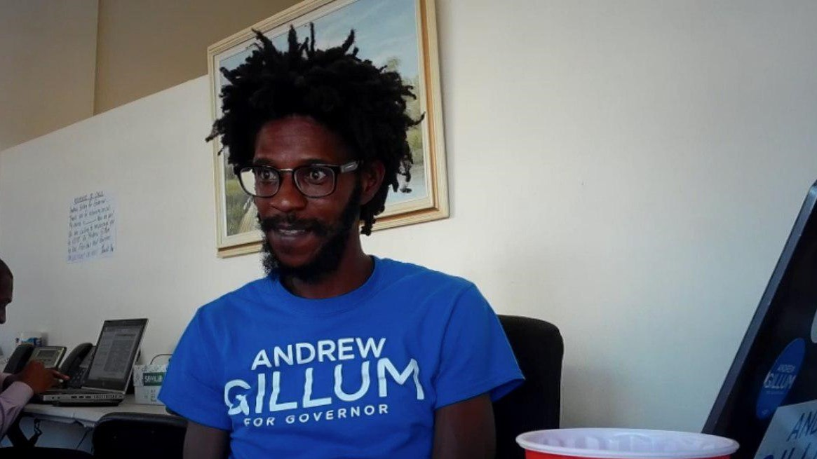 Omar Smith at Andrew Gillum's campaign office