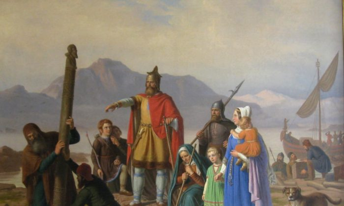 "One saga tells a story about Ingolfr Arnarson, considered the first settler of Iceland. ""Ingolfr Takes Possession of Iceland,"" 1850, by Johan Peter Raadsig."