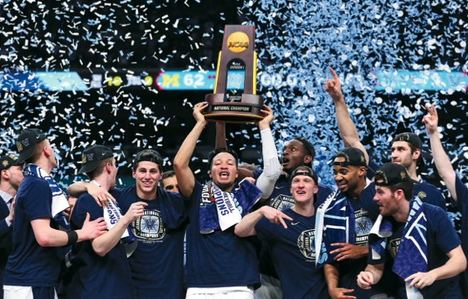 Clubs and organizations routinely express their values. The National Collegiate Athletic Association (NCAA), for example, has its rules about amateurism and competitive balance. (Above) Jalen Brunson of the Villanova Wildcats raises the trophy and celebrates with his teammates after defeating the Michigan Wolverines during the 2018 NCAA Men's Final Four National Championship game in in San Antonio, Texas, on April 2, 2018. (TOM PENNINGTON/GETTY IMAGES)