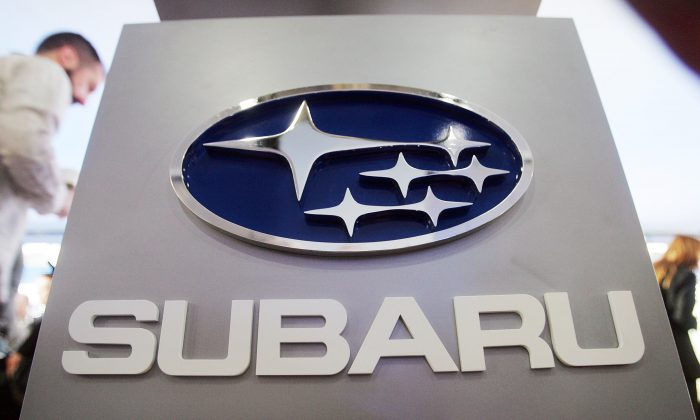 A Subaru logo is displayed at the New York International Auto Show on April 5, 2007. (Mario Tama/Getty Images)