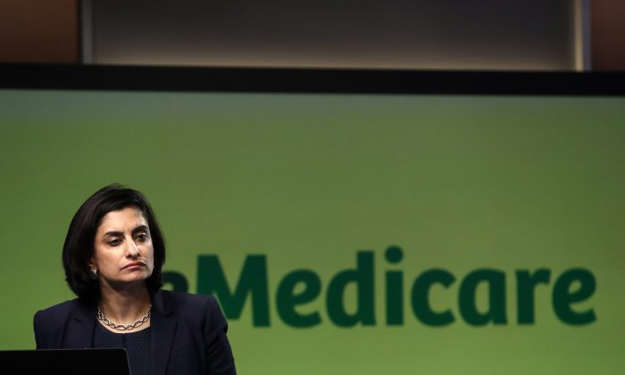 Centers for Medicare and Medicaid Services Administrator Seema Verma speaks at the Health and Human Services headquarters in Washington on Oct. 1, 2018. (Samira Bouaou/The Epoch Times)