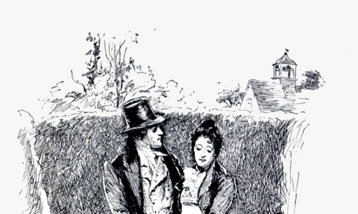 """Mr Knightley's proposal to Emma. An illustration by Chris Hammond in the 1898 edition of """"Emma."""" (Public Domain)"""